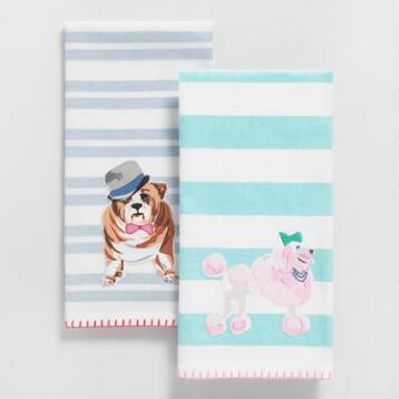 Poodle and Bulldog Striped Kitchen Towels Collection