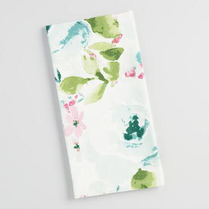 Blue Floral Watercolor Kitchen Towel