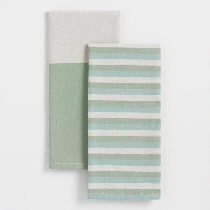 Cool Wide and Narrow Striped Kitchen Towels Set of 2