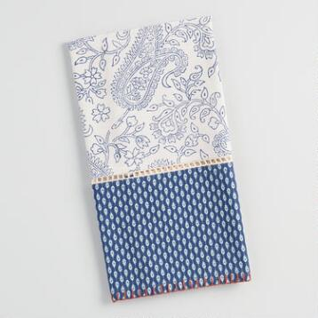 Blue and White Paisley Kitchen Towel with Lace