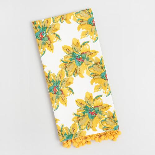 Annabel Floral Kitchen Towel with Pompoms