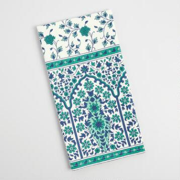Teal and Blue Floral Gate Kitchen Towel