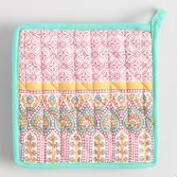 Coral and Aqua Preeti Striped Potholder