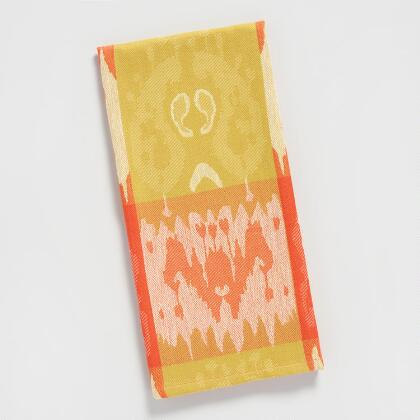 Orange and Green Ikat Jacquard Kitchen Towel