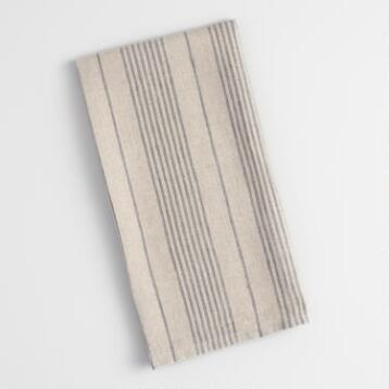 Gray and Natural Thin Stripes Kitchen Towel