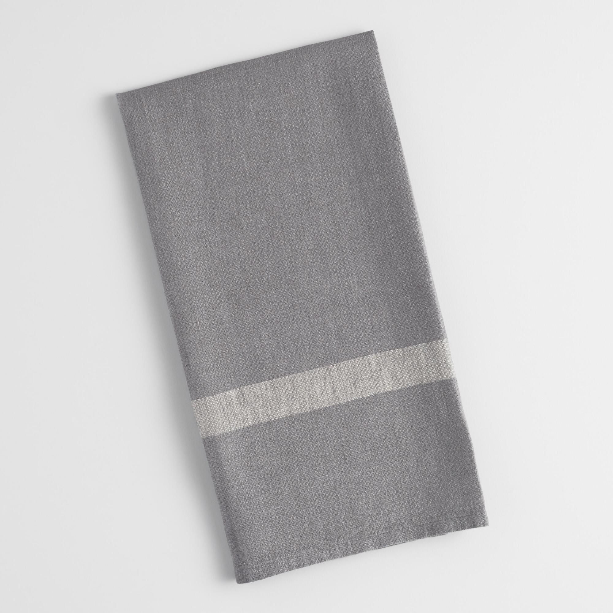 Grey Dish Rags: Gray And Natural Thick Stripe Kitchen Towel