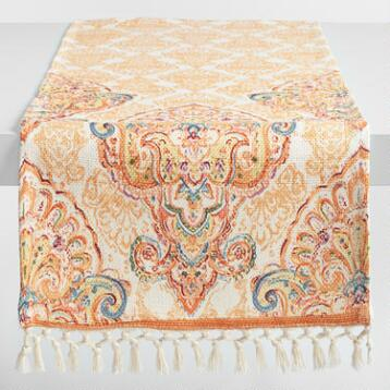 Coral Orange Bianca Jute Table Runner