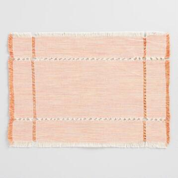 Orange Milange Khadi Placemats Set of 4