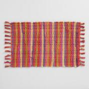 Warm Jardin Stripe Chindi Placemats Set of 4