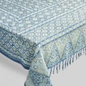 Blue and Green Tassel Barmeri Tablecloth