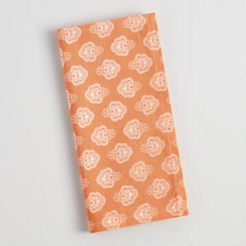 Orange Four Way Pattern Napkins Set of 4