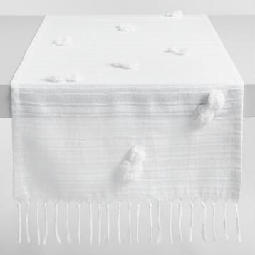 White Pompom Naomi Table Runner