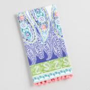 Paisley Border with Pompoms Kitchen Towel