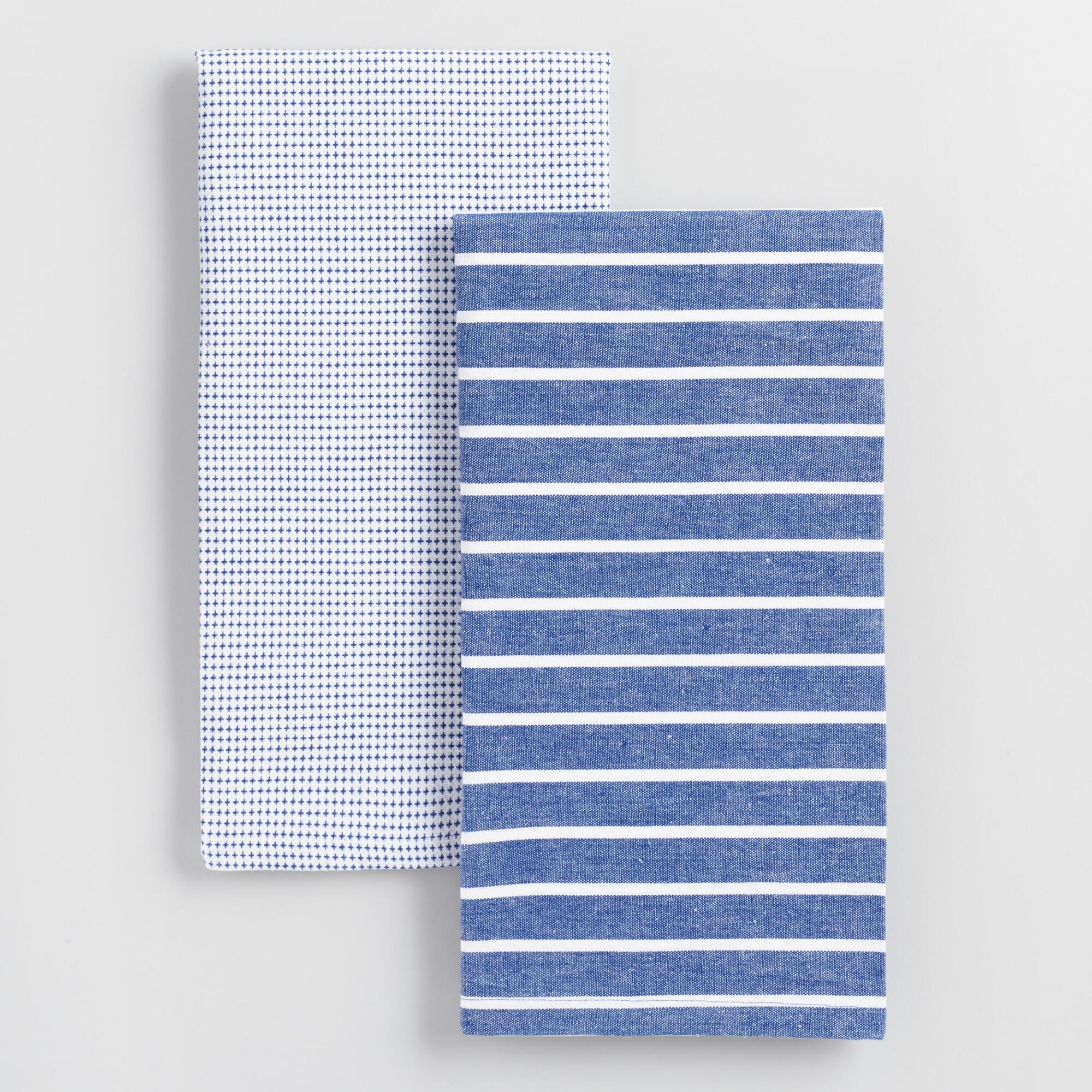 Blue And White Woven Kitchen Towels Set Of 2