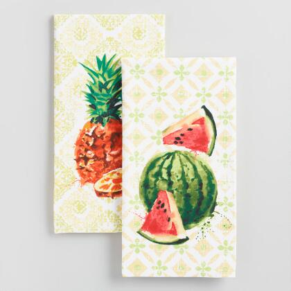 Watercolor Watermelon and Pineapple Kitchen Towel Collection