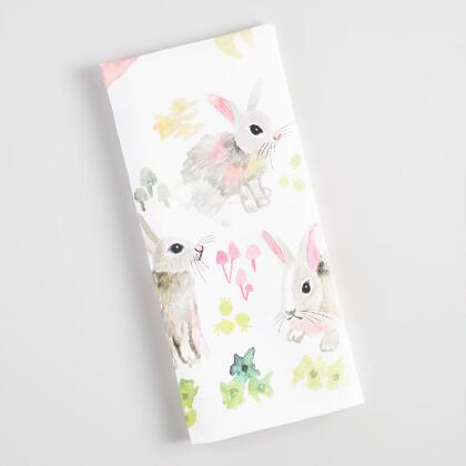 Watercolor Bunnies Kitchen Towel