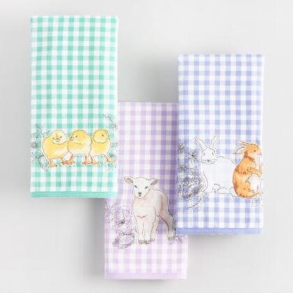 Gingham Baby Animals Kitchen Towels Set of 3