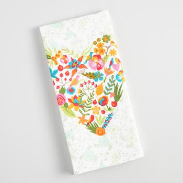 Floral Heart Kitchen Towel