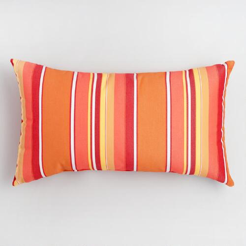 Decorative Outdoor Lumbar Pillows : Sunbrella Mango Dolce Stripe Outdoor Lumbar Pillow World Market