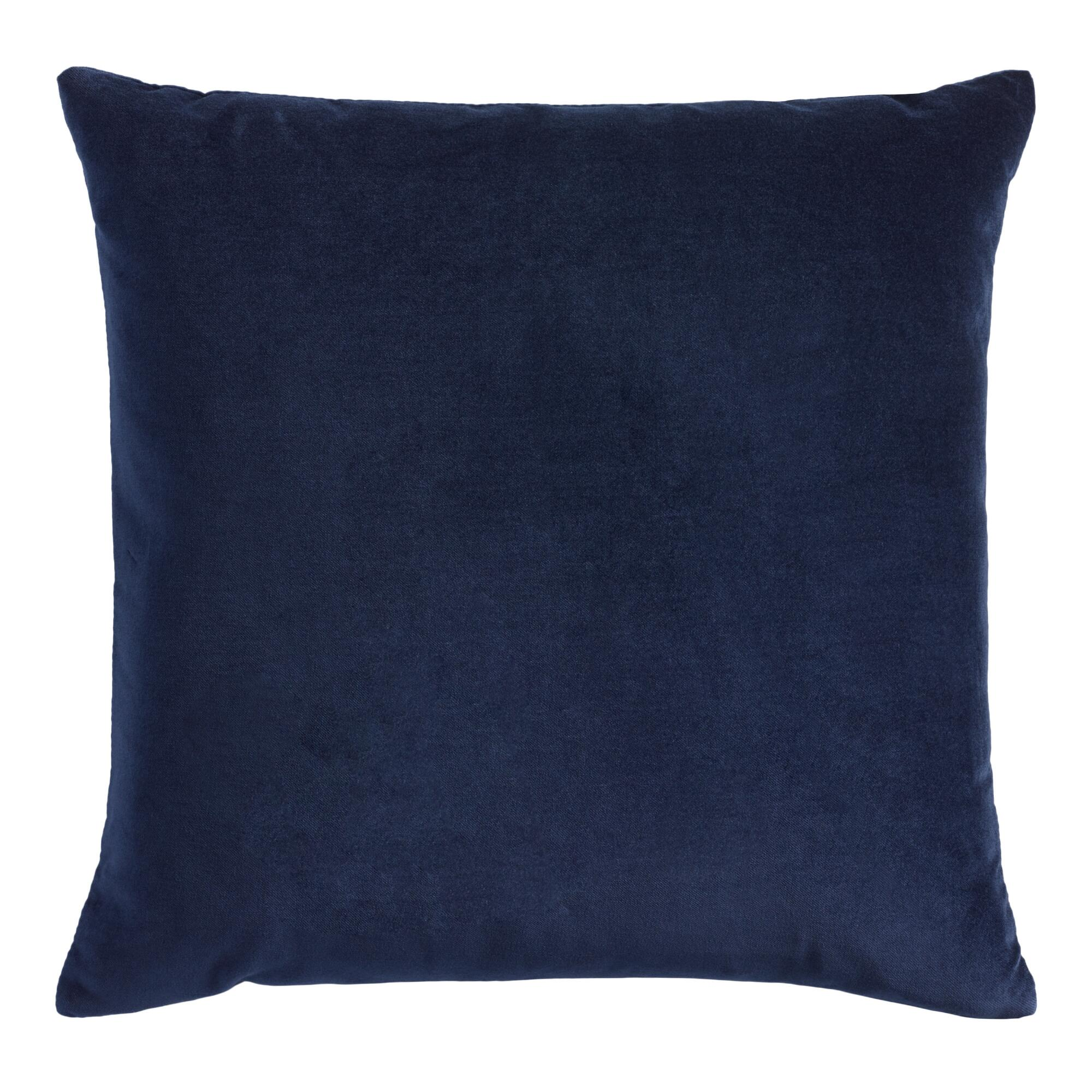 Throw Pillows Velvet : Navy Blue Velvet Throw Pillow World Market