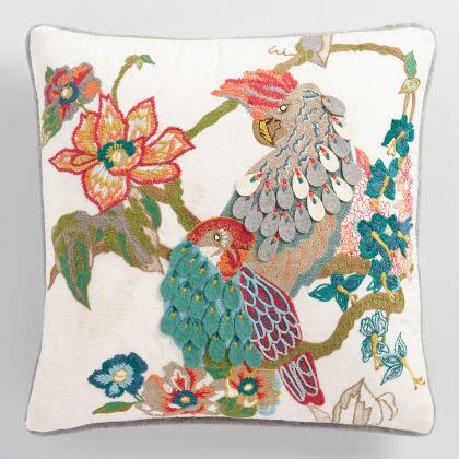 Parrot Embroidered Throw Pillow