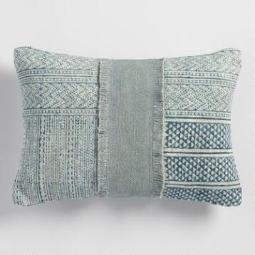 Stonewashed Patchwork Dhurrie Lumbar Pillow