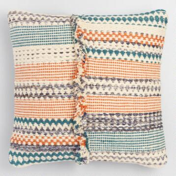 Woven Stripe Fringe Throw Pillow
