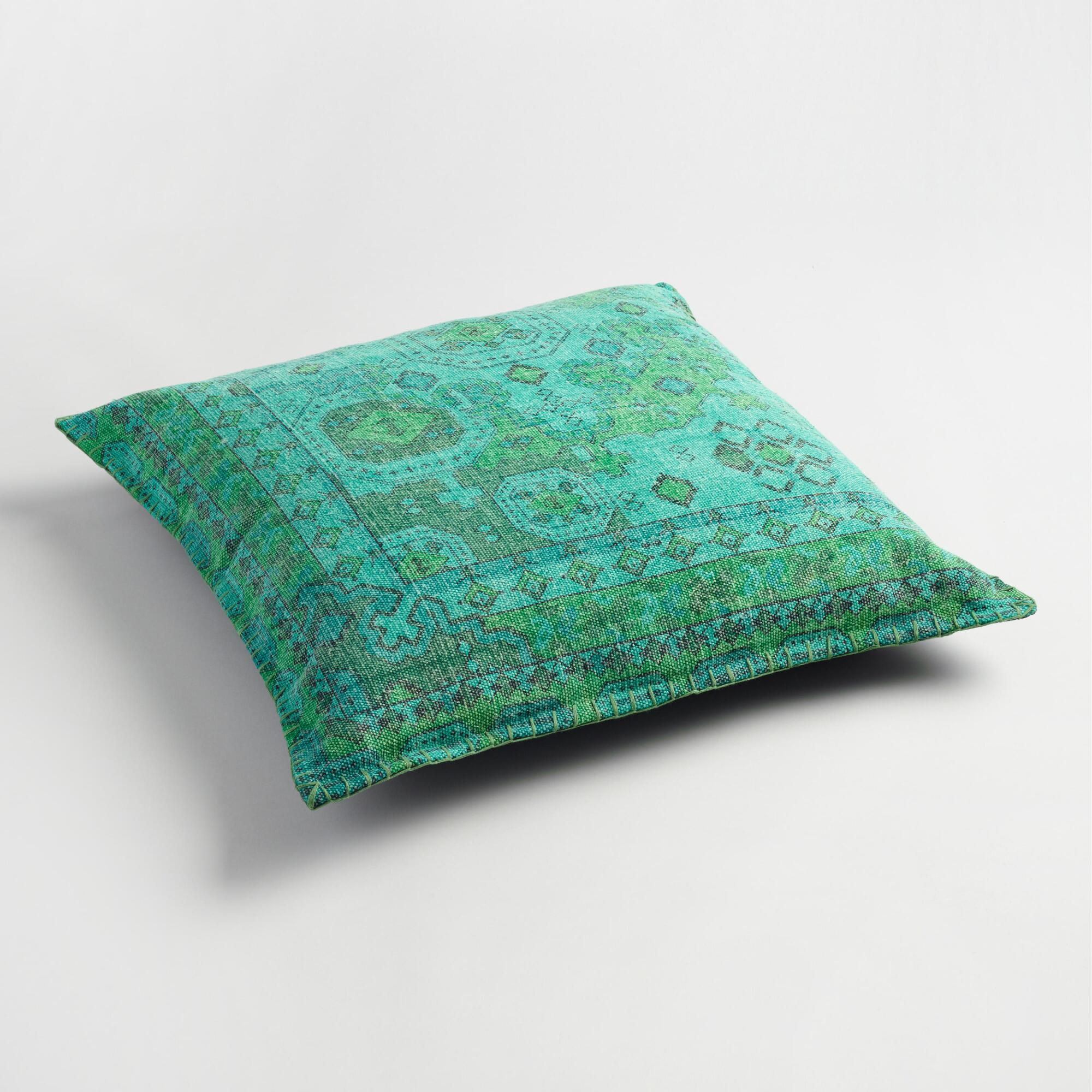 Floor Cushions Or Pillows : Teal Dhurrie Printed Floor Cushion World Market
