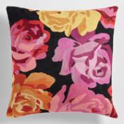 Pink Floral Wool Throw Pillow