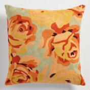 Orange Floral Wool Throw Pillow