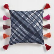 Tie Dye Dhurrie Tassel Throw Pillow
