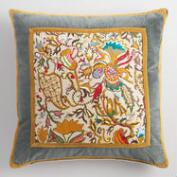 Embroidered Velvet Border Throw Pillow