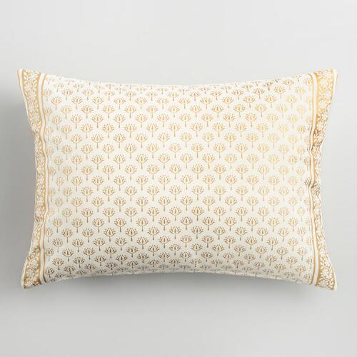 Ivory and Gold Print Lumbar Pillow