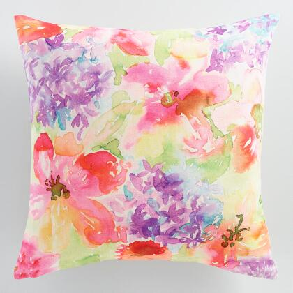 Floral Watercolor Throw Pillow