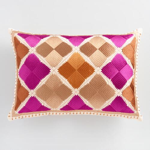 Warm Diamond Embroidered Lumbar Pillow