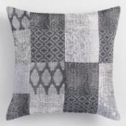 Gray Brocket Patchwork Throw Pillow