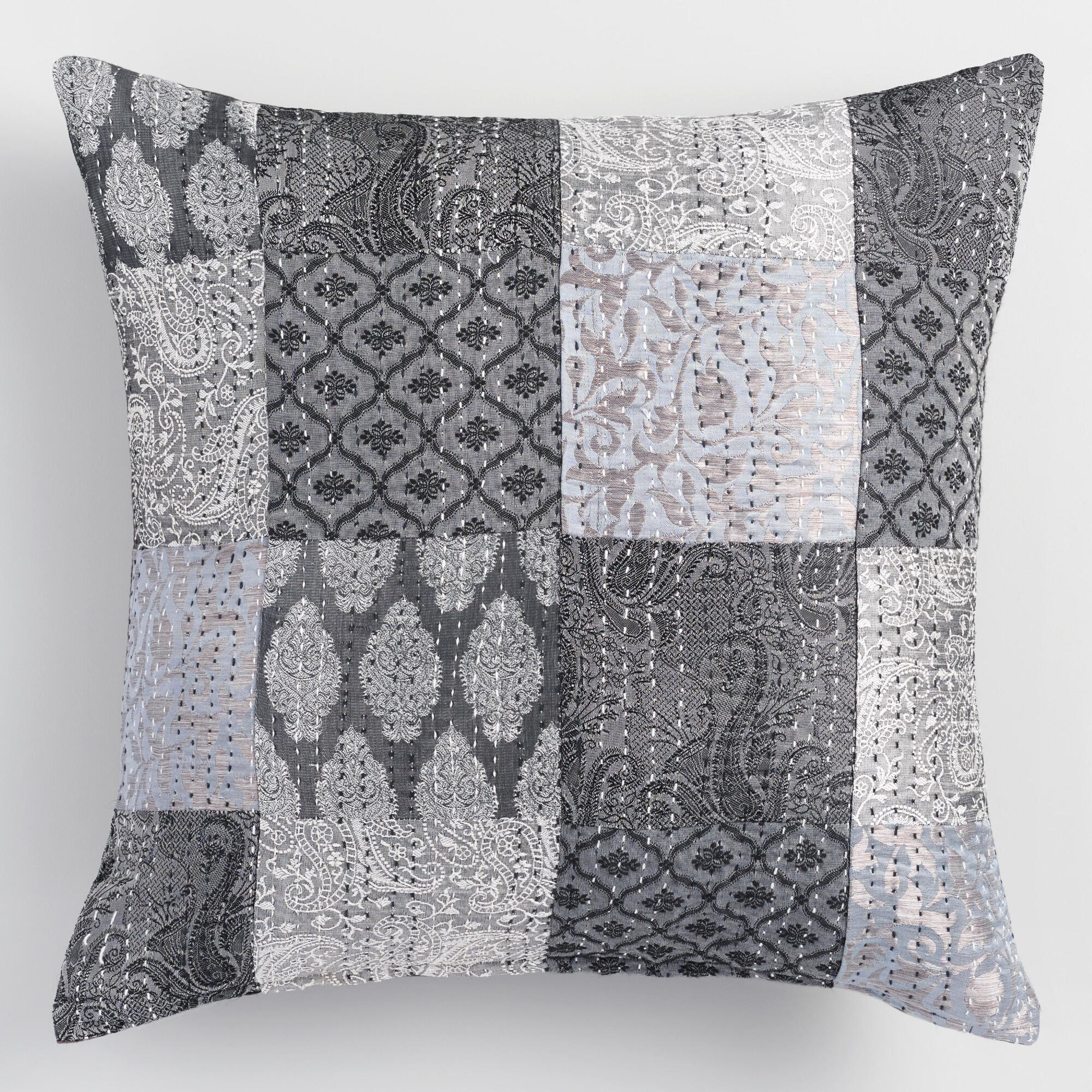 Gray Brocket Patchwork Throw Pillow World Market
