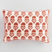 Rust Samode Embroidered Lumbar Pillow