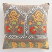 Gray Embroidered Jali Throw Pillow