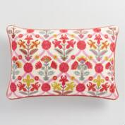 Pink Floral Embroidered Lumbar Pillow