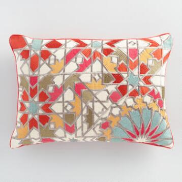 Embroidered Jali Tile Lumbar Pillow