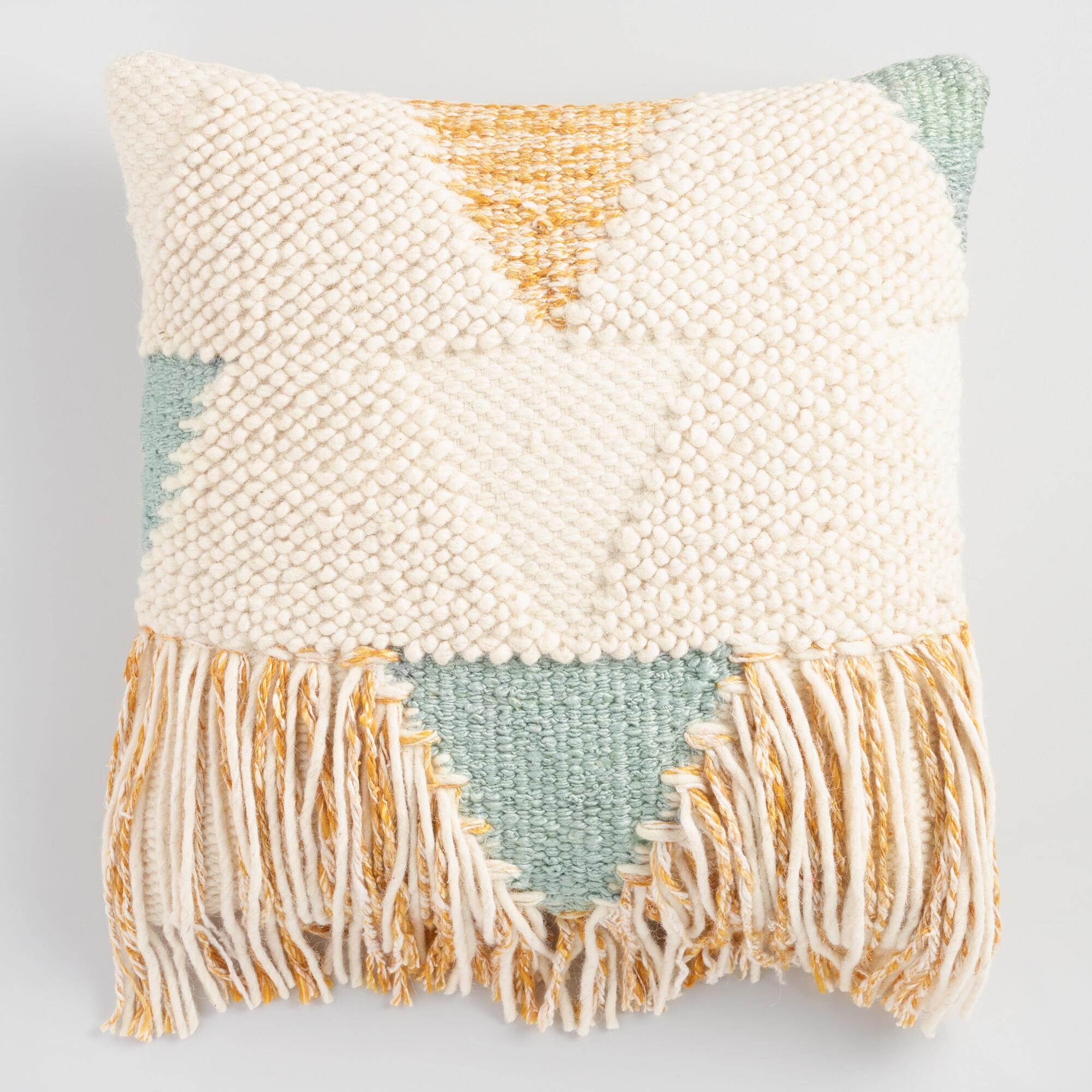 Boho fringe throw pillow world market for Decor pillows