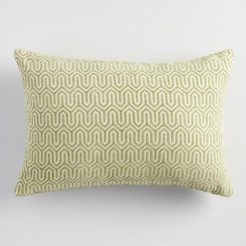 Sage Green Geo Chenille Lumbar Pillow