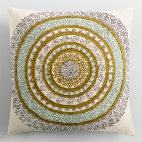 Gray and Green Embroidered Medallion Pillow