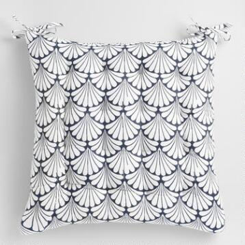 Indigo Fan Print Chair Cushion