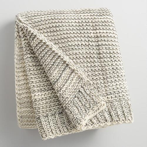 Gray and Ivory Knit Sweater Throw