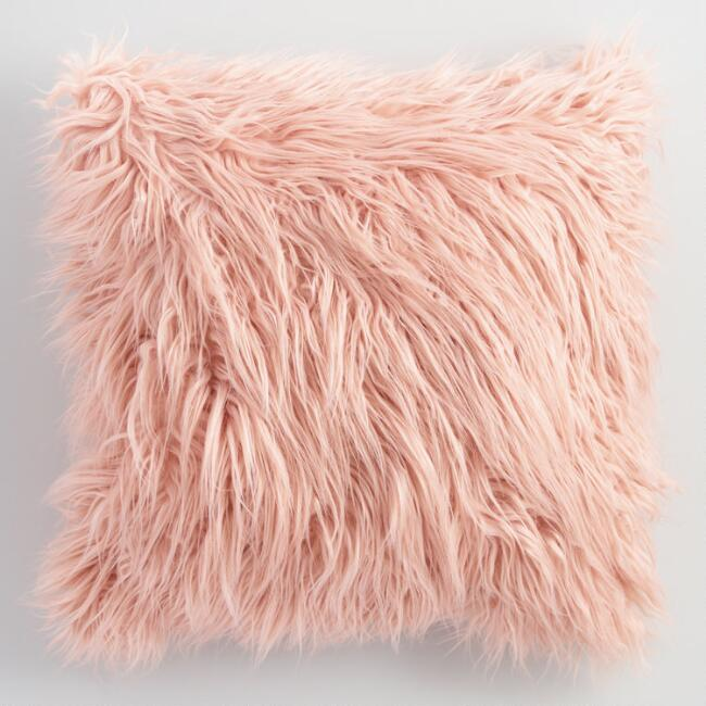 Blush Mongolian Faux Fur Throw Pillow Pink 18 Quot Square