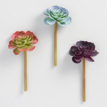 Faux Pastel Succulent Stems Set of 3