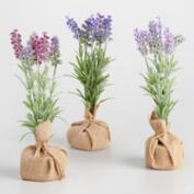 Faux Lavender with Burlap Bases Set of 3