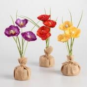 Faux Poppies with Burlap Bases Set of 3